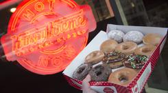 Krispy Kreme doughnuts are seen outside their store in Washington, DC, December 1, 2016. / AFP / SAUL LOEB (Photo credit should read SAUL LOEB/AFP/Getty Images