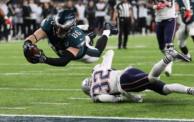 Philadelphia Eagles' Zach Ertz scores a touchdown in last year's Super Bowl. Gan and betting firms are set to benefit from a relaxation of laws on sports betting. Photo: Reuters
