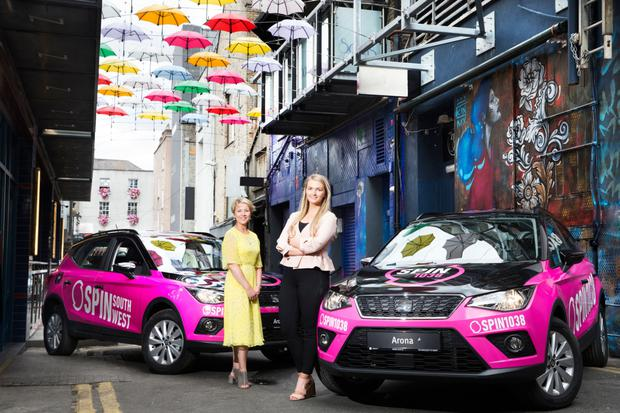 Leslie Walsh, marketing communications manager at Seat Ireland, and Michelle Flanagan, events manager, Spin 1038/Spin South West.