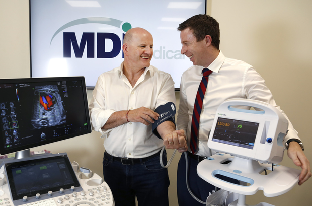 Sean Gallagher with John Lyng of MDI Medical. Photo: Damien Eagers