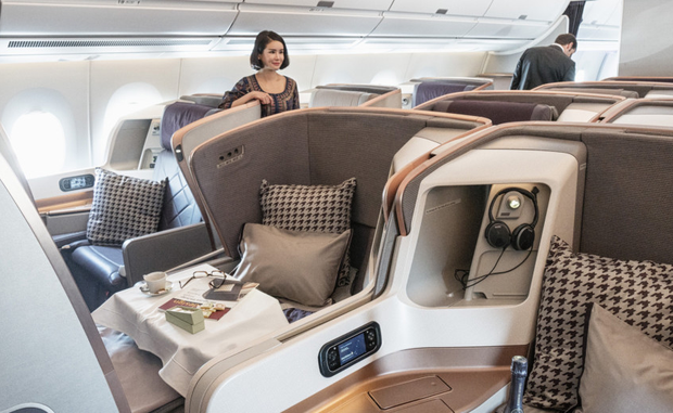 The business class cabin of Singapore Airlines on display at its main Changi Airport hub Photo: Bloomberg