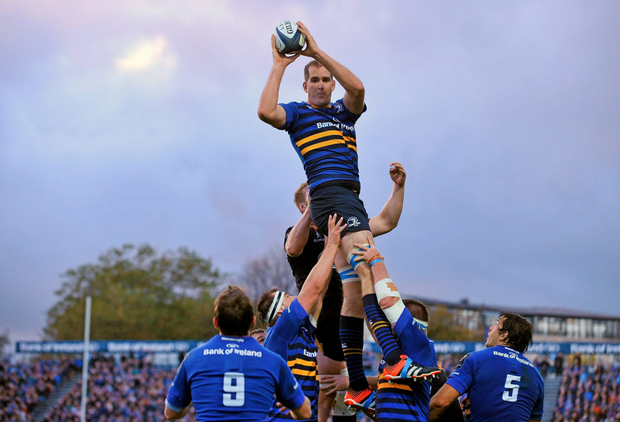Leinster's Devin Toner wins possession of the ball in a lineout in the RDS - next season the venue will have a new stand