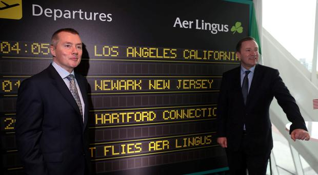 IAG CEO Willie Walsh with Aer Lingus CEO Stephen Kavanagh who is eyeing the prospect of further expansion in the US. Photo: Jason Clarke