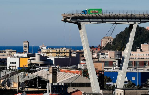 A view of the Morandi highway bridge that collapsed in Genoa, northern Italy last week. Photo: AP
