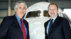 CityJet CEO Pat Byrne (left) and Aer Lingus CEO Stephen Kavanagh at the announcement of their partnership on the London route