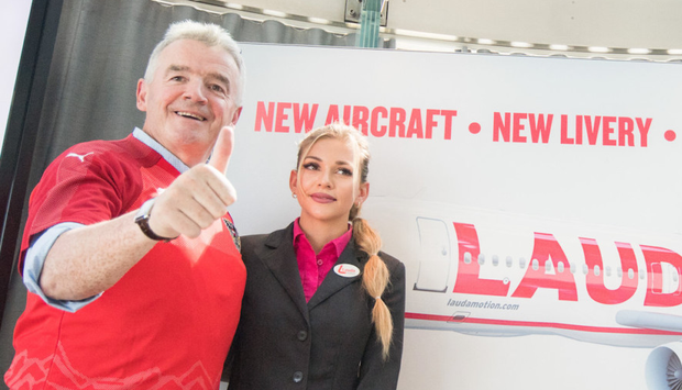Ryanair CEO Michael O'Leary with Laudamotion crew member Michelle Capelli