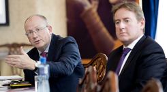 Permanent TSB CEO Jeremy Masding and CFO Eamonn Crowley at the announcement of the bank's interim results for 2018 last week. Photo: Iain White, Fennell Photography
