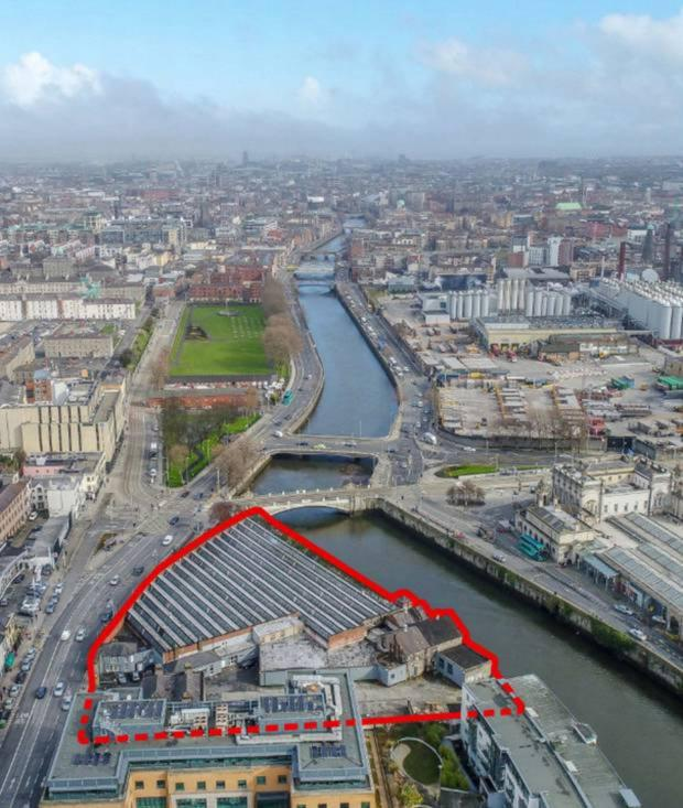 An aerial view of the Hickeys Parkgate Street site, for which developer Joe O'Reilly paid a premium of 50pc on its price
