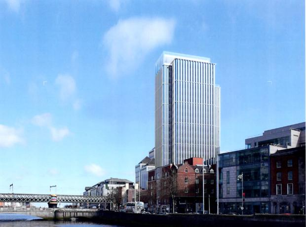 New plan: An artist's impression of the new-look tower beside Tara Street Dart station