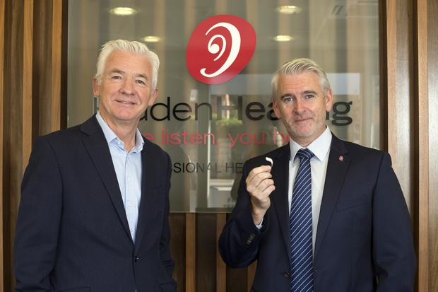 Alan O'Neill with Stephen Leddy of Hidden Hearing in their premises in Merrion Road. Photo: Tony Gavin
