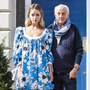 Frock and awe: Designer Paul Costelloe pictured with a model wearing an outfit from his upcoming collection