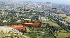 Major site: An aerial view of the 'Druid's Glen' and 'Lehaunstown' lands, which are being offered for sale by CBRE as part of the 'Brennanstown' portfolio