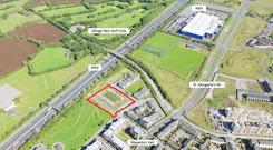 An aerial view of the subject site at Mayeston Hall in Finglas, Dublin 11