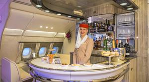 Approach: The bar area of an Airbus A380 owned by Emirates, which sources say is keen to acquire neighbour
