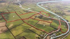 An aerial view of the landholding next to the Lucan/Clonee Road (R149) near Ongar in Dublin