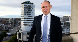 Irish Life CEO David Harney has seen the landscape from his office window transformed as docklands development thrives. Photo: Frank McGrath