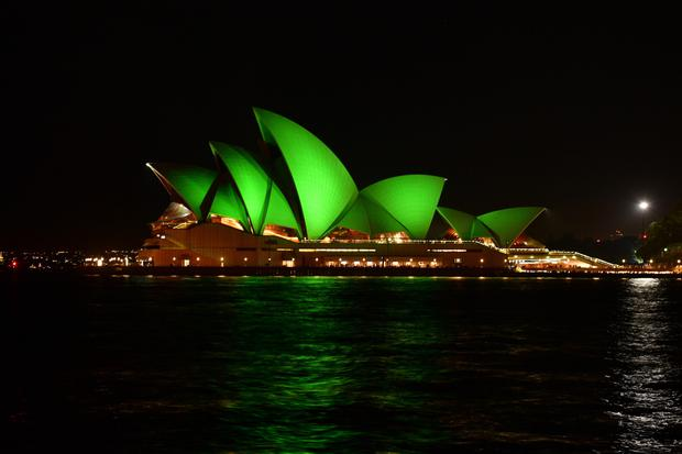 The Sydney Opera House lit up for part of Tourism Ireland's Global Greening initiative for St Patrick's Day