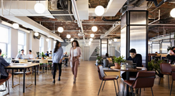 The interior of WeWork's headquarters in Manhattan's Chelsea district