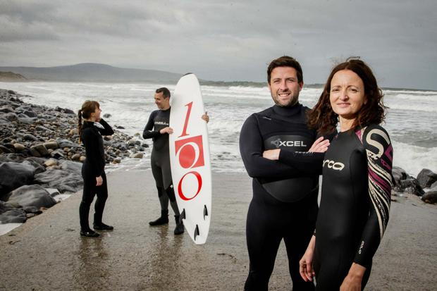 Pictured in Strandhill, Co Sligo, are Overstock's Sophia Price, software developer; David Kenny, director of software development; Stephen O'Connor, senior software tester; and Lucia Macari, development team lead.