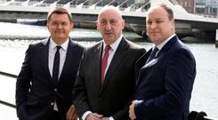 Glenveagh Properties' three co-founders, Justin Bickle, CEO; John Mulcahy, chairman; and Stephen Garvey, COO, after the company announced half-year results last September