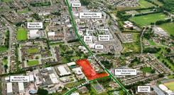The site has the benefit of extensive road frontage to Link Road, and sites to its western side at its junction with Ballincollig's main street.