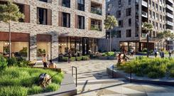 Exclusive: An artist's impression of the entrance plaza at Dublin Landings Residential
