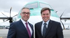 Stobart Air managing director Graeme Buchanan and Group CEO Warwick Brady, who said the company remains focused on aviation and energy and is well-placed to boost its growth plans on both