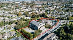 Prime location: An aerial view of the Mount Merrion site. Occupied by the former Flanagan Kerins furniture store and the Union Cafe, the land already has planning permission for 98 apartments
