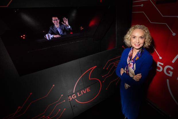 Picture shows Anne O'Leary, CEO of Vodafone Ireland speaking to Max Gasparroni, Interim Technology Director, Vodafone Ireland