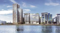 Towering ambition: Kennedy Wilson has just announced the completion of Capital Dock in Dublin's South Docklands. The scheme includes Ireland's tallest residential tower