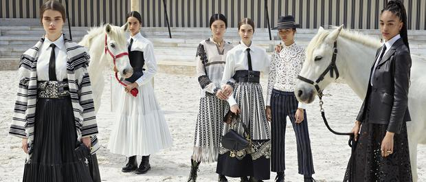 Horse sense: Models strike a pose for Christian Dior's upcoming 'Cruise' fashion campaign