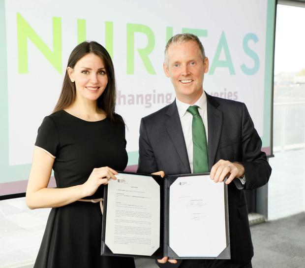 Loan deal: Dr Nora Khaldi with Andrew McDowell, European Investment Bank vice president