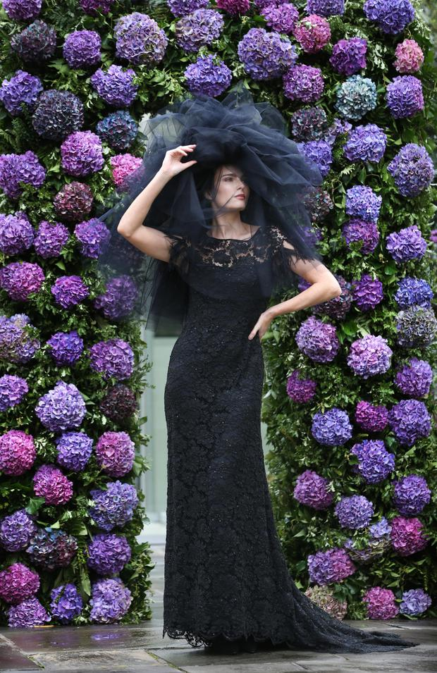 Dress to impress: A model wears a Victoria floor-length dress from last year's autumn/winter collection by Louise Kennedy