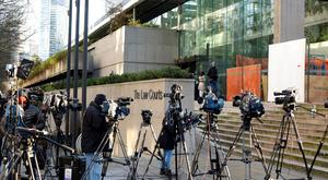 International attention: Members of the media outside the BC Supreme Court bail hearing of Huawei CFO Meng Wanzhou yesterday, who was held on an extradition warrant in Vancouver Photo: Reuters
