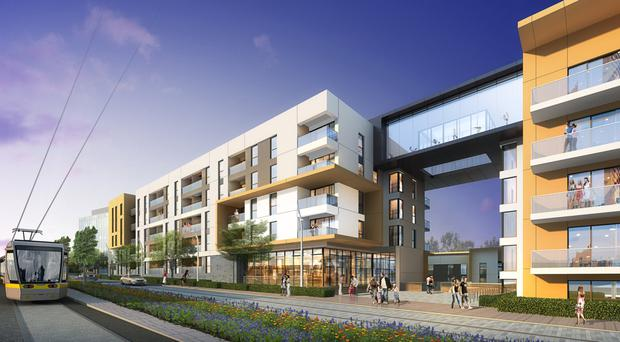 Future: An artist's impression of the new apartments being built at Cherrywood Town Centre in Dublin