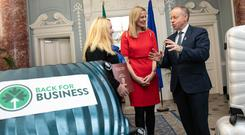 Startup help: Former Back for Business participant Clare O'Connor; lead entrepreneur Julie Currid, Initiafy; and Ciarán Cannon, Minister of State for the Diaspora and International Development. Photo: Orla Murray/SON Photo