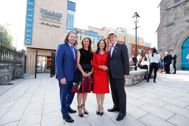 Distillery: Mark Lyons and his wife Holly with the late Dr Pearse Lyons and his wife Deirdre in 2017