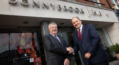 Joe Doyle of Donnybrook Fair with Musgrave CEO Chris Martin after Musgrave bought the firm in a deal worth €25m