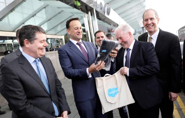 Finance Minister Paschal Donohoe, Taoiseach Leo Varadkar; Salesforce Ireland country leader Dr David Dempsey and Salesforce president and CFO Mark Hawkins at the Convention Centre. Photo: Julien Behal
