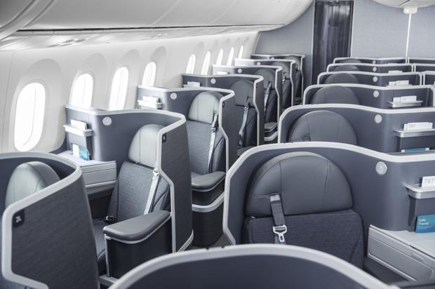 The business cabin, with direct-aisle access from each seat, on the new 787-9 Dreamliner at Dublin
