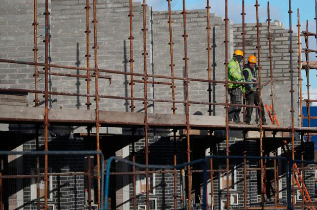 Construction work on the Ó Cualann Co-op's affordable housing scheme in Ballymun which managed to cut prices by building on State land at a fraction of the usual cost. Photo: PA