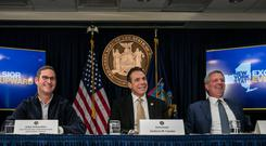 Failure to launch: Amazon's John Schoettler, New York Governor Andrew Cuomo and Mayor Bill de Blasio during a news conference about the online retailer's planned headquarters in November of last year