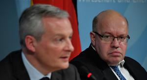 Continental shift: German Economy Minister Peter Altmaier (right) and his French counterpart Bruno Le Maire at a press conference in Berlin