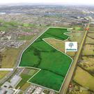 Central location: An aerial view of the Clonburris lands. The site's €27.5m guide price breaks down to approximately €30,000 to €32,000 per plot