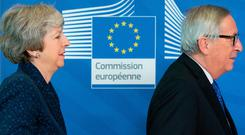 UK Prime Minister Theresa May and EU European Commission President Jean-Claude Juncker met last night as the Brexit clock counts down with huge implications for Ireland. Photo: Bloomberg