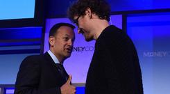 Moving on: Taoiseach Leo Varadkar and Paddy Cosgrave, CEO, Web Summit, during day two of MoneyConf 2018 at the RDS Arena last year. Photo: Sportsfile