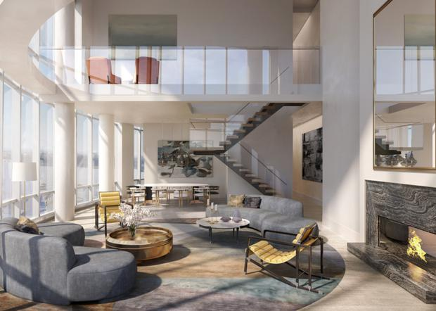 High life: An artist's impression of the residences at 15 Hudson Yards in New York City. The apartments are part of a wider $25bn mixed-use scheme