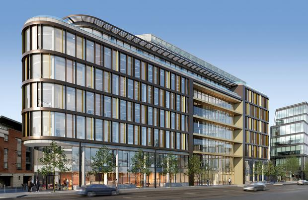 Pivotal: An artist's impression of 35 Shelbourne Road in Ballsbridge, D4. Extending to 87,478 sq ft of Grade A office space, the building is due for completion in April 2020