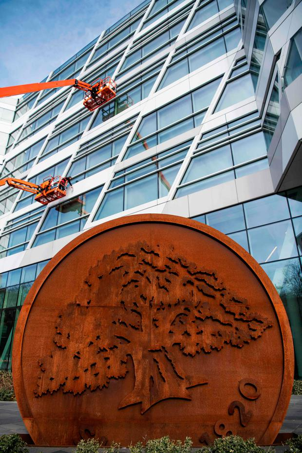 Raid: The headquarters of Swedbank located in Sundbyberg, outside Stockholm. The Swedish Economic Crime Authority reported it searched the offices of Swedbank, one of the country's major banks, over a money-laundering scandal. Photo: Getty