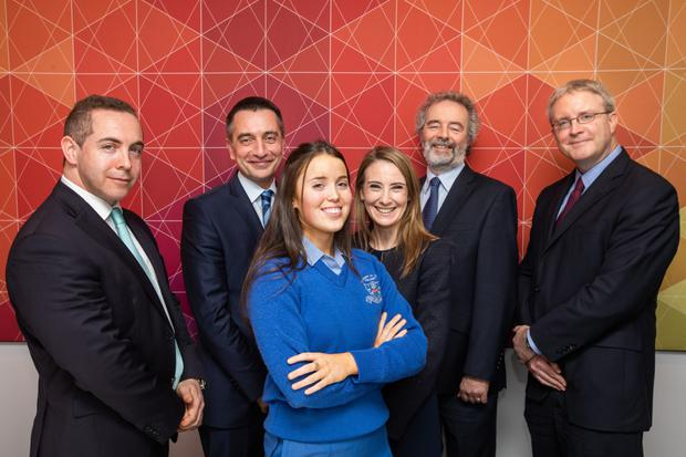 BPFI chief economist Ali Ugur; Clíodhna Whelan, a 5th-year student at St Joseph's of Cluny School, Killiney, Co Dublin; Dr Loretta O'Sullivan, group chief economist, Bank of Ireland; and Austin Hughes, chief economist at KBC Bank Ireland.